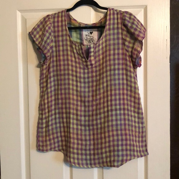 Tops - Purple and Green Checkered Top